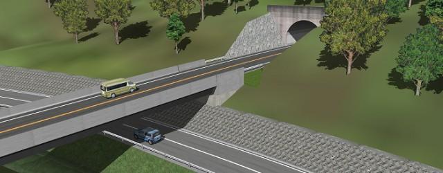 一つのデータで複数のトンネル坑口検討が可能です。 ご提供頂いた図面をトレースする事で、橋梁、土工部、トンネル部の開始位置、終了位置、形状の正確な再現が短期で可能です。 また、TN部が通過する箇所を地盤下から見上げる事で土...