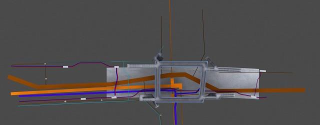 地下の電線共同溝や配水系統と地上構造物との兼ね合いが分かりづらい時など、CGのメリットを活かせます。