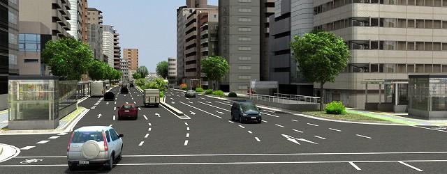 2D平面/縦断/横断図面を忠実に3次元化、舗装や歩道部、縁石などの材料や樹木等の選定で、住民説明などの合意形成を図るフォトリアルな資料が作成出来ます