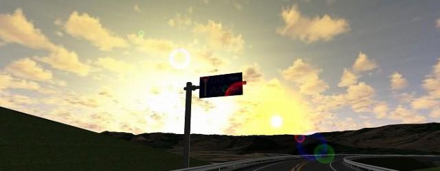 現況で夕刻に逆光となり、標識が見えにくい箇所があった場合を想定し、以下の対策を施したものをVRで表現したものです。 該当標識を200m手前(TN内)に設置する事で、逆光による影響を未然に防ぐ 逆光対策標識を設置し、スリッ...