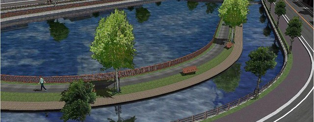 街の中の親水公園、森林公園など水や樹木と街並みの融合景観の検討が可能です。 *Video: 緑化 公園 vr cg パース