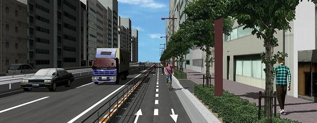 自転車専用道路の検討がスピーディに行えます。自動車側、自転車側、歩行者側からの視認性の確認、景観の確認および検討が可能です。 *Video: 自転車専用道路